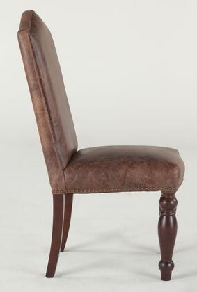 Emilia ZWEI63DTG 20 inch  Dining Chair with Decorative Nail Head Trim  Hand-Turned Legs and Distressed Leather Upholstery in Burgundy