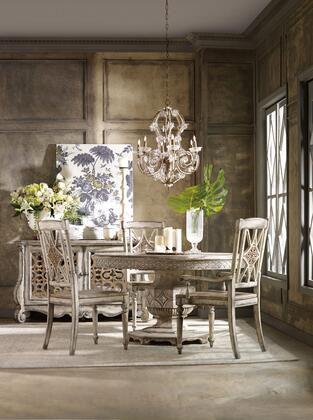 5350-RDT2SC2AC 5-Piece Chatelet Collection Round Dining Table + 2X Side Chairs + 2x Armrest Chairs  in Distressed Vintage