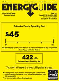 Energy Guide Labels: KF1801, KF1811