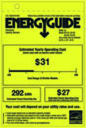 Energy Guide Labels: G2142, G2143, G2182, G2183