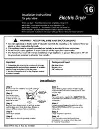 DE08/09 DE60 Electric Dryer Install