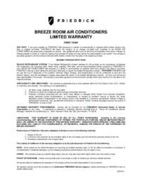 Friedrich Breeze Manufacturer's Warranty