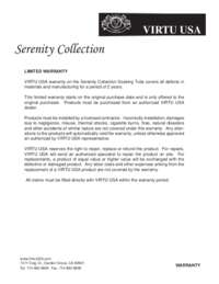 Virtu USA Serenity Collection Warranty