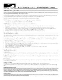 RANGE HOOD INSTALLATION INSTRUCTIONS