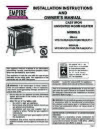 Heritage Vent Free Cast Iron Stove Installation Manual