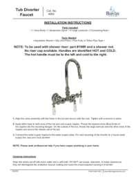 4000 Tub Diverter Faucet Installation Instructions