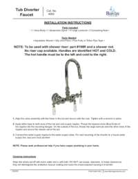 4000 Tub Diverter Faucet Installation Instructions