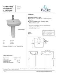 Spec Sheet for Series 600 Pedestal Lavatory