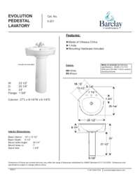 Spec Sheet for Evolution Pedestal Lavatory