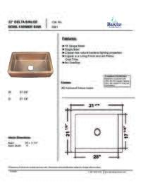 6941 Farmer Kitchen Sink Specification Sheet