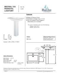 Spec Sheet for Mistral 510 Pedestal Lavatory