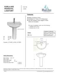 Spec Sheet for Karla Pedestal Lavatory