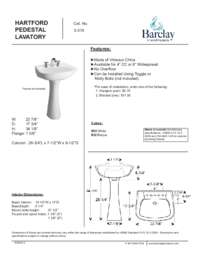 Spec Sheet for Hartford Pedestal Lavatory