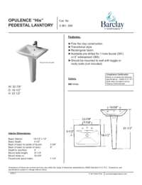 Spec Sheet for Rectangular Opulence Pedestal Lavatory