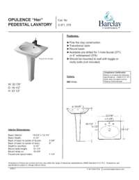 Spec Sheet for Oval Opulence Pedestal Lavatory