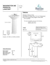 Spec Sheet for Washington 460 Pedestal Lavatory