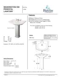 Spec Sheet for Washington 550 Pedestal Lavatory