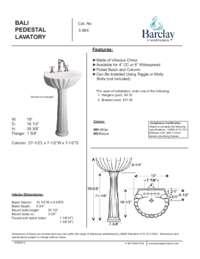 Spec Sheet for Bali Pedestal Lavatory