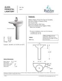 Spec Sheet for Alida Pedestal Lavatory