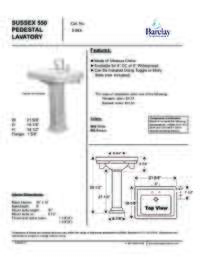 Spec Sheet for Sussex 550 Pedestal Lavatory