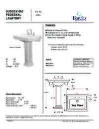 Spec Sheet for Sussex 660 Pedestal Lavatory
