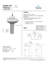 Spec Sheet for Summit 600 Pedestal Lavatory