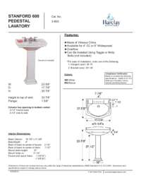 Spec Sheet for Stanford 600 Pedestal Lavatory