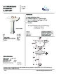 Spec Sheet for Stanford 550 Pedestal Lavatory