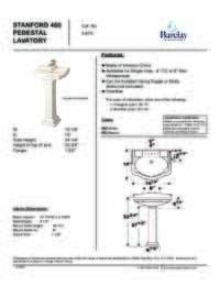 Spec Sheet for Stanford 460 Pedestal Lavatory