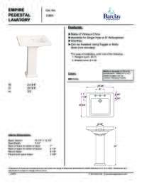 Spec Sheet for Empire Pedestal Lavatory