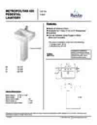 Spec Sheet for Metropolitan 420 Pedestal Lavatory