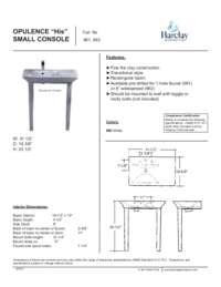 Spec Sheet for Small Opulence Console