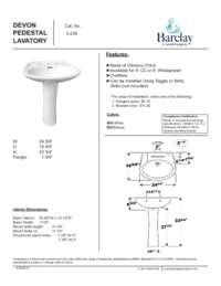 Spec Sheet for Devon Pedestal Lavatory