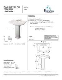 Washington 765 Pedestal Lavatory Spec Sheet