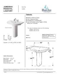 Spec Sheet for Jumeirah Pedestal Lavatory