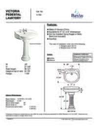 Spec Sheet for Victoria Pedestal Lavatory