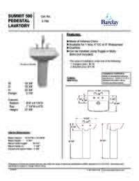 Spec Sheet for Summit Pedestal Lavatory