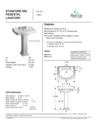 Spec Sheet for Stanford 660 Pedestal Lavatory