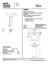 Spec Sheet for Empire Pedestal Lavatory