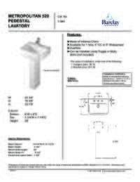 Spec Sheet Metropolitan 520 Pedestal Lavatory