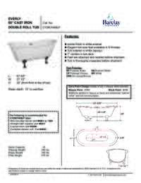 Spec Sheet for Everly Cast Iron Double Roll Tub