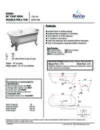 Spec Sheet for Essex Cast Iron Double Roll Tub