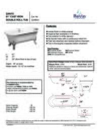 "Spec Sheet for Dante 61"" Cast Iron Double Roll Tub"