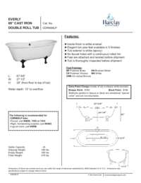 "Spec Sheet for Everly 68"" Cast Iron Double Roll Tub"