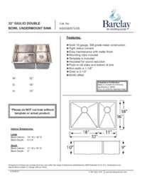 KSSDB2572-SS Specifications Sheet