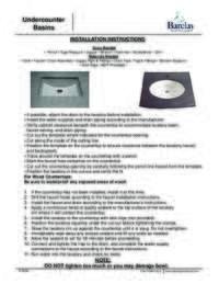 Undercounter Sinks Installation Instructions