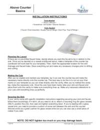 Above Counter Basins Installation Instructions