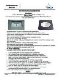 Undercounter Sinks Installation Instructions