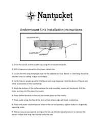 Nantucket Stainless Steel Sink Undermount Installation Information