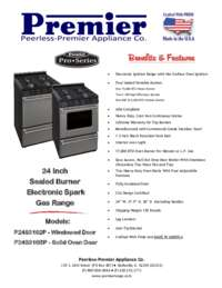 Premier P24s3102p 24 Inch Gas Freestanding Range With